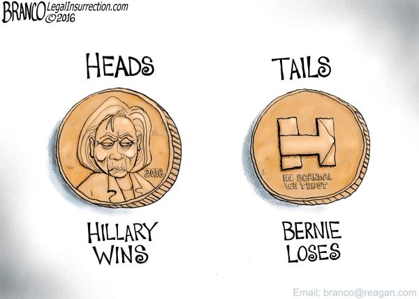 HillaryClinton-BernieSanders-CoinToss-Iowa-Attrib-AFBranco-ComicallyIncorrect-020416